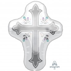 First Communion SuperShape XL Holy Day Cross Shaped Balloon 58cm x 71cm