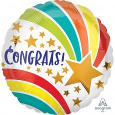 Round Congratulations Standard HX Shooting Star Congrats! Foil Balloon 45cm