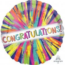 Round Standard HX Painterly Burst Congratulations! Foil Balloon 45cm