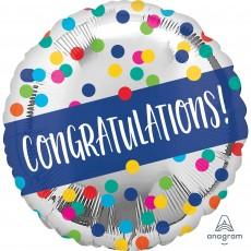 Round Silver Standard HX Dots Congratulations! Foil Balloon 45cm