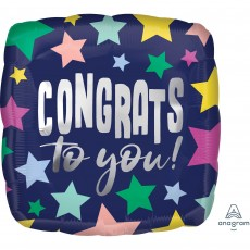 Square Congratulations Standard HX Stars on Navy Congrats to you! Shaped Balloon 45cm