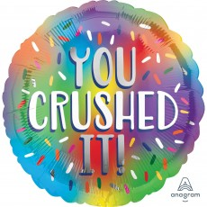 Round Congratulations Standard HX Rainbow You Crushed It! Foil Balloon 45cm