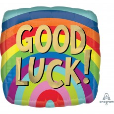Good Luck Party Decorations - Shaped Balloon Rainbow Stripes Square