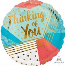 Thinking of You Standard HX Geometric Pattern Foil Balloon