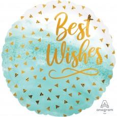 Round Wedding Standard HX Gold Confetti Best Wishes Foil Balloon 45cm