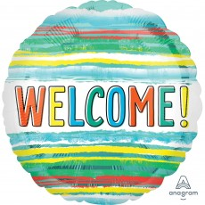 Welcome Party Decorations - Foil Balloon Watercolor Stripes