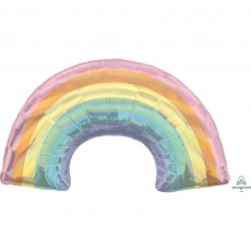 SuperShape Holographic Iridescent Pastel Rainbow Shaped Balloon 86cm x 48cm