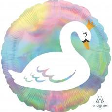 Iridescent Standard Holographic  Pastel Swan Foil Balloon