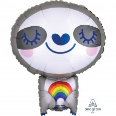 Standard XL Sloth with Rainbow Shaped Balloon 45cm