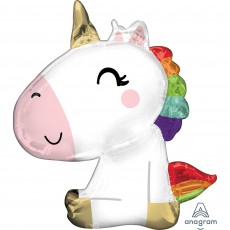 Unicorn Fantasy SuperShape XL Satin Sitting Unicorn Shaped Balloon