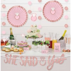 Bridal Shower Blush Wedding Buffet Table Decorating Kit