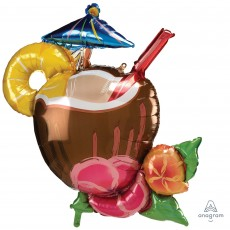 Hawaiian Luau SuperShape XL Coconut Pina Colada Drink Shaped Balloon