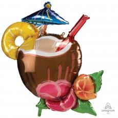 Hawaiian Party Decorations Coconut Pina Colada Drink Shaped Balloons