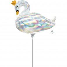 Mini Iridescent Swan Shaped Balloon