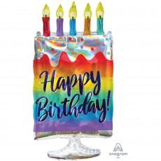 Happy Birthday Iridescent Cake SuperShape Holographic Shaped Balloon 38cm x 76cm