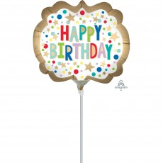 Happy Birthday Gold Satin Marquee Dots Mini Shaped Balloon