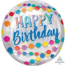 Happy Birthday Clear Rainbow Puffs Shaped Balloon