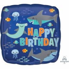 Square Shark Splash Standard HX Sharks Happy Birthday Shaped Balloon 45cm