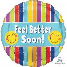 Get Well Standard Stripes Foil Balloon