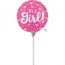 Baby Shower Party Decorations - Foil Balloon Hearts Dots It's A Girl!