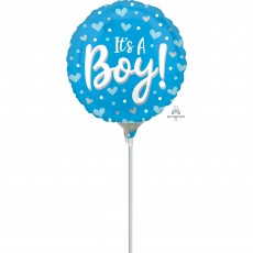 Baby Shower Party Decorations - Foil Balloon Hearts & Dots It's A Boy!