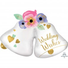 SuperShape XL Bells Wedding Wishes Shaped Balloon 83cm x 60cm