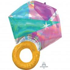 SuperShape Iridescent Holographic Wedding Ring Shaped Balloon