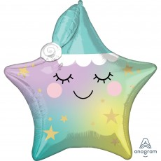 Twinkle Little Star Party Decorations - Shaped Balloon Sleepy Star