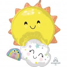 Hawaiian Luau SuperShape XL Sun, Cloud & Rainbow Family Shaped Balloon 60cm x 71cm
