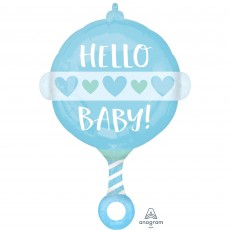 Baby Shower - General Standard Boy Rattle Hello Baby! Shaped Balloon