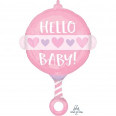 Baby Shower - General Standard Girl Rattle Hello Baby! Shaped Balloon