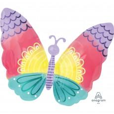 Feeling Groovy & 60's Standard XL Pastel Tie-Dye Butterfly Shaped Balloon