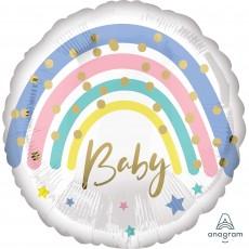 Round Baby Shower - General Standard HX Pastel Rainbow Foil Balloon 45cm