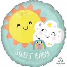 Round Baby Shower - General Standard HX Rainbow Sweet Baby Foil Balloon 45cm
