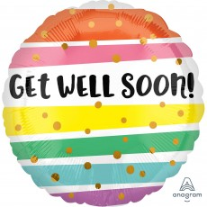 Get Well Party Decorations - Foil Balloon Bold Stripes Get Well Soon!