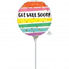 Get Well Bold Stripes Foil Balloon
