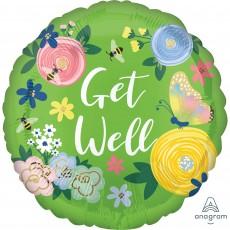Get Well Standard HX Floral Garden Foil Balloon