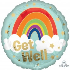 Get Well Standard HX Golden Rainbow Foil Balloon