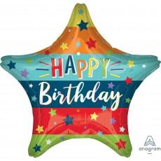 Happy Birthday Standard HX Stars & Stripes Shaped Balloon