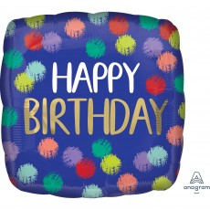 Happy Birthday Standard HX Brushed Foil Balloon