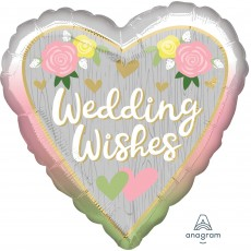 Heart Standard HX Ombre Wedding Wishes Shaped Balloon 45cm
