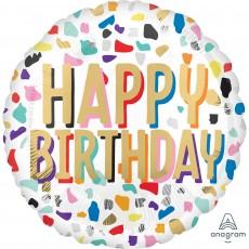 Happy Birthday Standard HX Confetti Foil Balloon