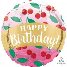 Happy Birthday Standard HX Cherries Foil Balloon