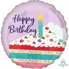 Happy Birthday Standard HX Purple Confetti Cake Foil Balloon