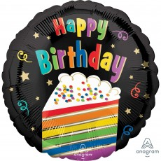 Happy Birthday Standard HX Rainbow Cake Foil Balloon