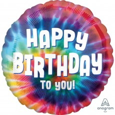 Happy Birthday Standard HX Tie Dye Foil Balloon