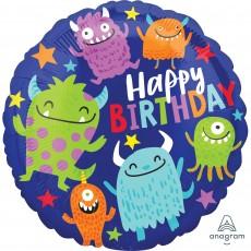 Happy Birthday Happy Little Monsters Standard HX Foil Balloon