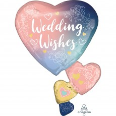 Hearts SuperShape XL Twilight Lace Wedding Wishes Shaped Balloon 58cm x 76cm