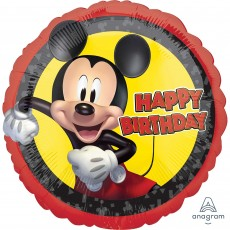 Round Mickey Mouse Forever Standard HX Happy Birthday Foil Balloon 45cm