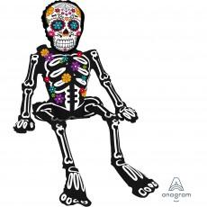 Halloween CI: Multi-Balloon Sitting Day of the Dead Skeleton Shaped Balloon